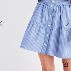 Madewell Bistro Mini Button Skirt in Striped Blue